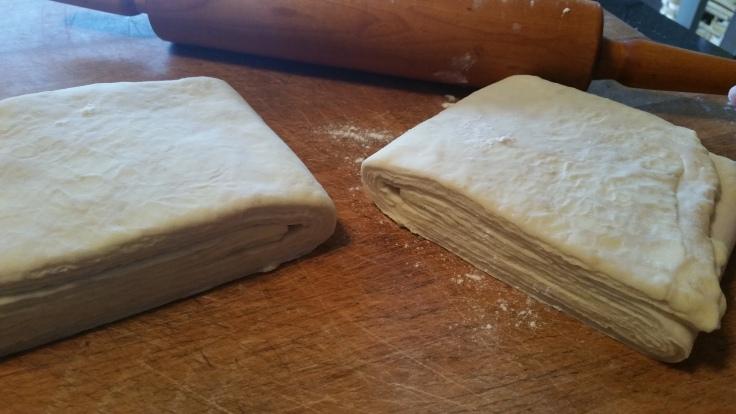 La pâte; une fois pliée avant sa cuisson